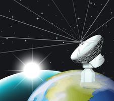 Satellite dish on earth vector