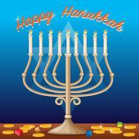 Modello di carta felice Hanukkah con luci e monete