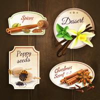 Spices badges set