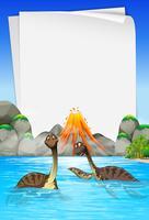 Brachiosaurus che nuota nel lago