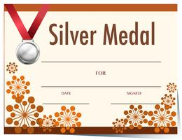 Certificaatsjabloon met zilveren medaille