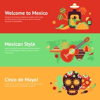 Mexico banner set vector