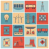 Energy icons flat line set