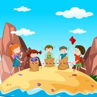Molti bambini nella gara di salto sull'isola