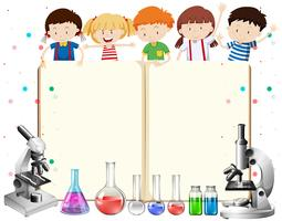 Children and science equipments