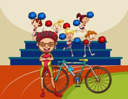 Motociclista e bicicleta no campo