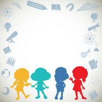 Border design with silhouette children
