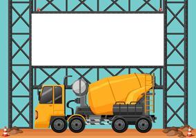 Byggarbetsplats med blank bräda och cement lastbil