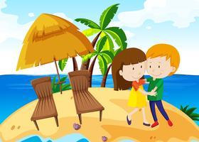 Boy and girl dancing on the island