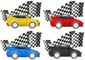Carros de corrida em quatro cores