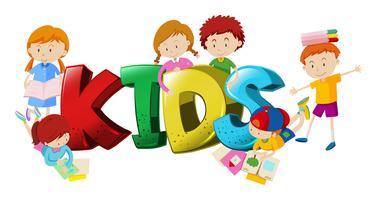 Diseño de palabras con niños y niñas en el fondo.