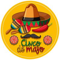Cinco de mayo festival theme with instruments and hat