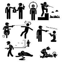 Assassinat Hitman Killer Murder Gunman Stick Figure Icônes pictogramme.