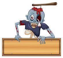 Een zombie die een leeg uithangbord houdt