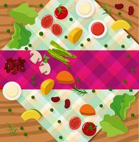 Background template with vegetables on table