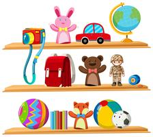 Toys and books on wooden shelves