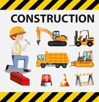 Camion di costruzione e uomo sul poster