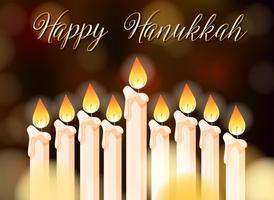 Conception d'affiche Happy Hanukkah avec des bougies