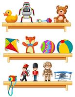 Many toys on wooden shelves