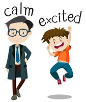 Opposite wordcard for calm and excited
