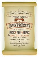 Retro Party Invitation On Parchment
