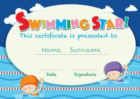 Modello di certificato con bambini che nuotano