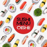 Diseño de menú con rollos de sushi.