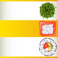 Plantilla de fondo con tres rollos de sushi diferentes
