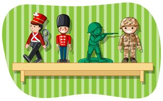 Soldier figures on wooden shelf