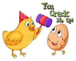 Chicken cracking an egg