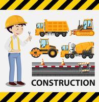 Byggnadsarbetare och byggnadsbilar