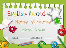 English award with english alphabets on it