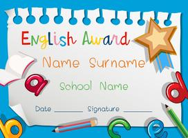 English award template on blue background