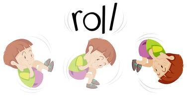 Boy in rolling action