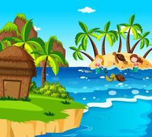 Sirenas y tortugas en la isla.