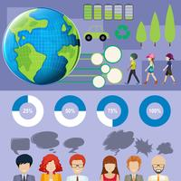Infografía con personas y gráficas.