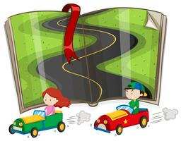 Book with road and racing cars vector