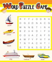 Word puzzle game template with water transportations