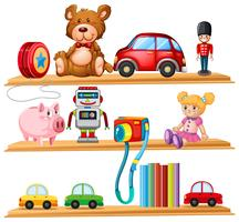 Many toys and books on wooden shelves