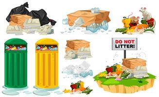 Déchets sur le sol et poubelles