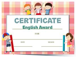Certificate template for english award with many kids