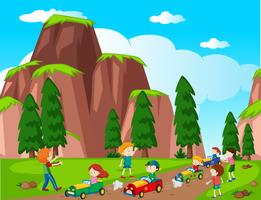 Park scene with kids racing car