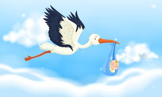 Crane flying with baby boy in sky