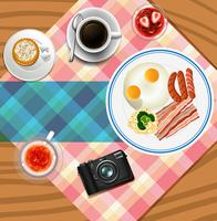 Background design with breakfast set