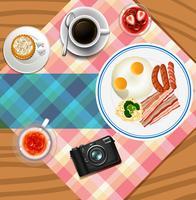 Diseño de fondo con set de desayuno
