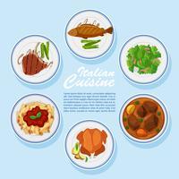 Diversi tipi di cibo sul menu