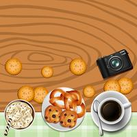 Hintergrunddesign mit Keksen und Tee