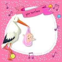 Border templat with bird and baby on pink background