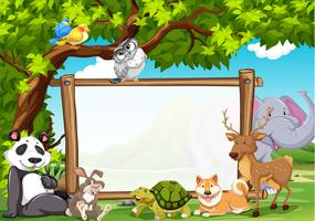 Board template with wild animals in zoo