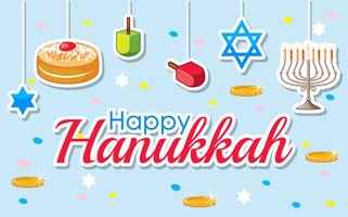 Conception d'affiche Happy Hanukkah avec des desserts et des ornements